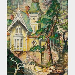 Marie (Bruner) Haines Burt (American, 1881-1979)      House in the Hills