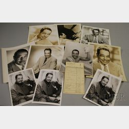 1959 Duke Ellington Signed Hotel Frankfurter Hof Guest Service Receipt and Twelve   Duke Ellington Publicity Portrait Photographs