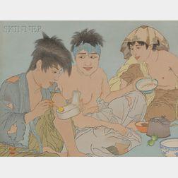 Paul Jacoulet (French, 1902-1960)      Three Works: Trois Coréens, Seoul, Corée