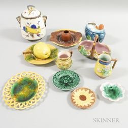 Eleven Majolica Ceramic Tableware Items