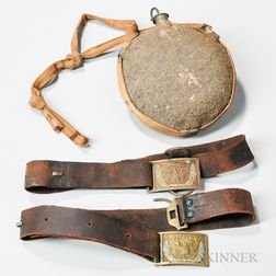 Two Civil War Belts and a Canteen