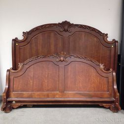 Contemporary Rococo-style Carved Mahogany Veneer King-size Sleigh Bed