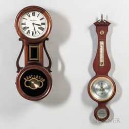 Seth Thomas Wall Clock and Swift Instrument Aneroid Wall Barometer