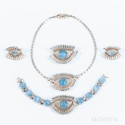 Mazer Bros. Costume Eye Rhinestone Jewelry Suite