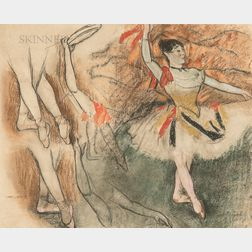 After Edgar Degas (French, 1834-1917)      Study of Legs and Arm Movements for a Dancer with a Tambourine