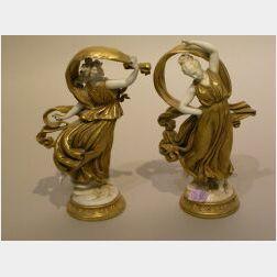 Pair of Capo di Monte Gilt Porcelain Figures of Maidens.