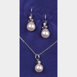 18kt White Gold, Cultured Pearl and Diamond Suite, Mikimoto
