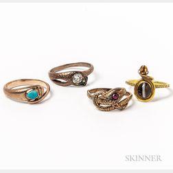 Four Snake Rings