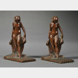 Pair of Art Nouveau Figural Bronzed Metal Bookends