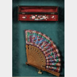 Mandarin Fan with Lacquer Box, Framed