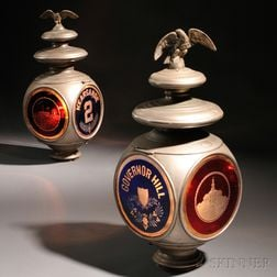 Two Silver-plated Copper and Etched Glass Fire Engine Lanterns