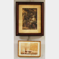 Anglo/American School, 19th Century      Two Framed Works on Paper:   Incoming Sailboats
