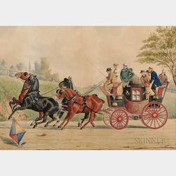 Richard Rosenbaum (American, b. 1864)      Four-in-hand Coach Spooked by a Kite