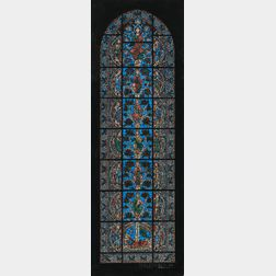 William H. Burnham Watercolor Study of the Jesse Tree Window at Chartres Cathedral