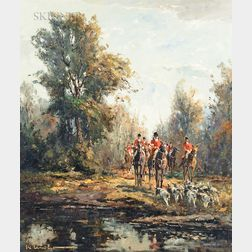 Karl Mohr (German, 1922-2013)      Fox Hunt with Hounds