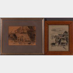 Louis Bosa (Italian/American, 1905-1981)      Two Framed Charcoal Drawings: Laborers Dockside