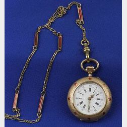 Victorian 14kt Gold and Enamel Chatelaine Watch