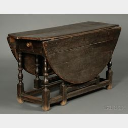 William & Mary Black-stained Oak Drop-leaf Gate-leg Table