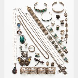 Large Group of Silver Jewelry