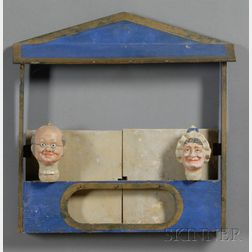 Painted Wood Puppet Stage with Two Puppet Heads
