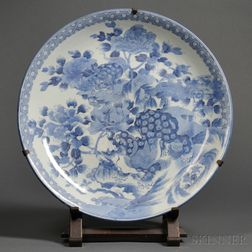 Large Blue and White Decorated Chinese Export Porcelain Platter