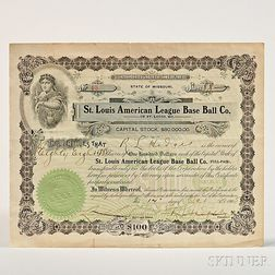 St. Louis American League Base Ball Co. Stock Certificate