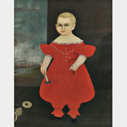American School, Early 19th Century      Portrait of a Boy in Red Dress Holding a Hammer and Nail