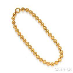 Antique Etruscan Revival Gold Bead Necklace