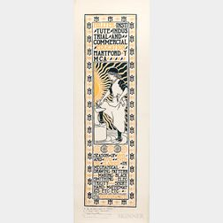 C.R. Loomis Arts and Crafts Woodblock Advertisement for the Hillyer Institute of Industrial and Commercial Education