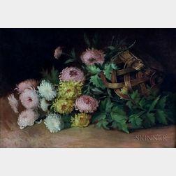 Josephine Elizabeth Bradstreet (American, 1859-1920)      Chrysanthemums Spilling from an Upturned Basket