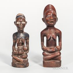 Two Congo Carved Wood Maternity Figures