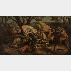 Italian School, 17th/18th Century Style      Battle Scene with Figures Fleeing an Attack
