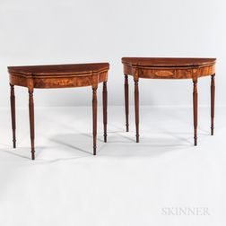Pair of Mahogany and Mahogany Veneer Inlaid Card Tables