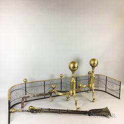 Pair of Brass Ball-top Andirons, a Firescreen, a Shovel, and a Pair of Tongs