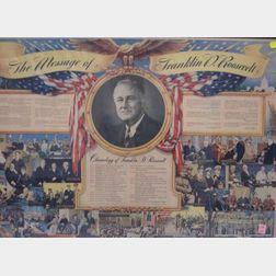 Framed FDR Commemorative Lithograph.
