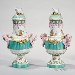 Pair of German Porcelain Vases