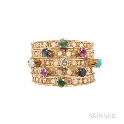 14kt Gold Gem-set Harem Ring