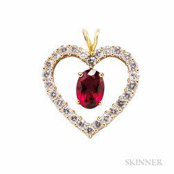 14kt Gold, Rubellite, and Diamond Pendant