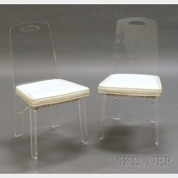 Two Lucite and White Upholstered Chairs