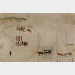 Historic Painted Muslin Depicting the Ute Bear Dance