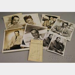 1959 Duke Ellington Signed Hotel Frankfurter Hof Guest Services Receipt and Eight Duke Ellington and Johnny Hodges Publicity Portrai...