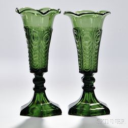 Pair of Sage Green Pressed Glass Eye and Scale Pattern Glass Vases