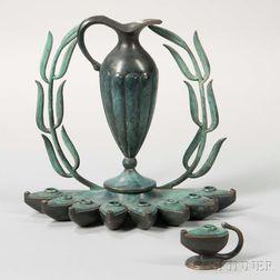 Pal-Bell Patinated Bronze Hanukkah Lamp
