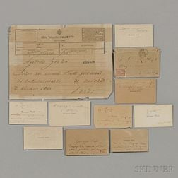 Verdi, Giuseppe (1813-1901) Nine Calling Cards, One Holograph Envelope, One Telegram.