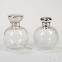 Two English Glass and Silver-topped Perfumes