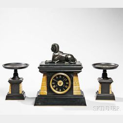 Three-piece Egyptian Revival Marble Clock and Garniture