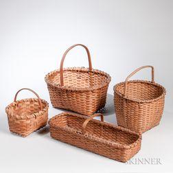 Four Signed Woven Splint Baskets