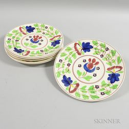 Set of Six Tulip-decorated Ceramic Plates