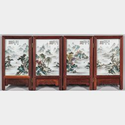 Folding Table Screen with Four Enameled Porcelain Plaques