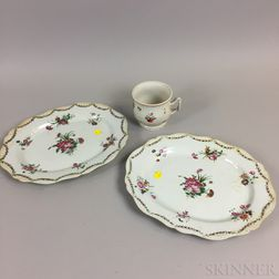 Two Chinese Export Porcelain Platters and a Cup
